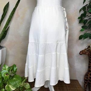 Gap White Linen Midi Skirt w/ Drawstring